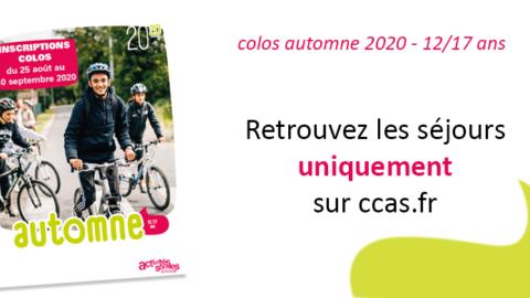12/17 ans – Colos d'automne 2020 – les inscriptions commencent maintenant !
